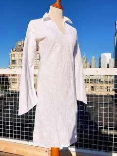 REDUCED* VTG Detailed Elf Long Sleeve White Knee Length Dress XS