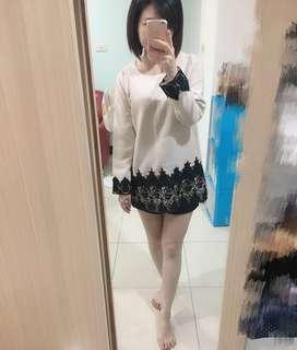 韓製實品裸粉色短洋 蕾絲細緻