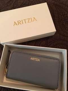 Aritzia grey leather change wallet