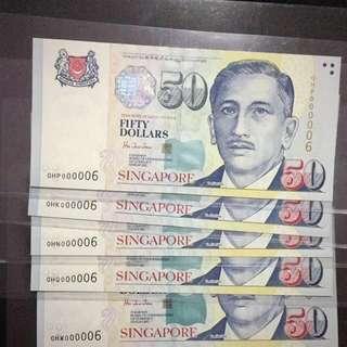 5 pcs $50 Low number 000006