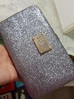 Greyish Hued Silver Glitter Clutch