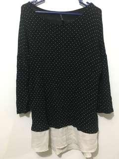 Stradivarius black shirt knit polkadot