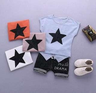 🌟PM for price🌟 🍀Baby Boy Star Printed Sleeveless Top+Shorts 2pcs Set🍀