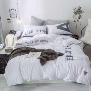 【預購】文字調:全棉*床單/床包組(規格:標準/加大/特大)_免運。