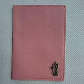Salmon Pink Passport Cover with Brass Cat Motiff