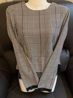 Checkered Laced Blouse