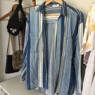 Multi colour denim blue throw over shirt