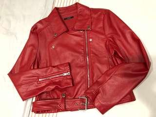 🚚 PU Red Leather Jacket