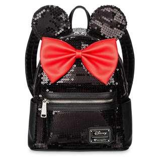 [PO] Disney Minnie Mouse Mini Backpack by Loungefly - Black Sequined