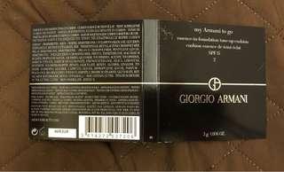 Giorgio Armani 「全新雪紡水光氣墊精華粉底」- 顏色:02 - 3g 試用裝(如圖),現售$25 一個。  茘枝角交收或另加郵寄費$5.0 (郵寄不包風險)。