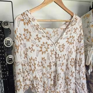 Boho rustic print style white button shirt