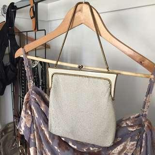 White and gold retro vintage mesh style purse bag
