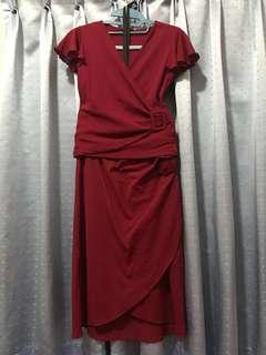 SEXY SILK Deep Red Blouse and Skirt (Preloved)
