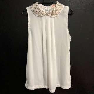 Basicxx White Chiffon Blouse with Studded Peter Pan Collar 100% Polyester Made in China