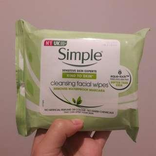 Simple Cleansing Facial Wipes 25 Sheets