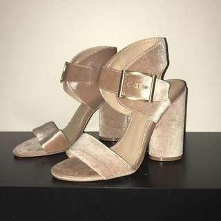 Pink / Peach Velvet Heels