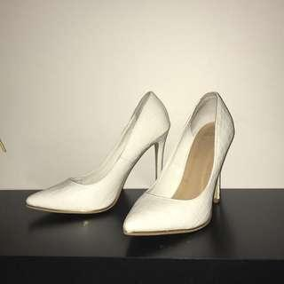 White Pointed - Toe Snakeskin Heels