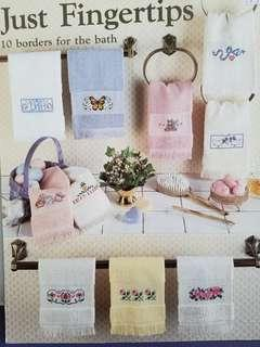 Leisure Arts Cross Stitch Chart Book☆Just Fingertips☆10 Borders for the Bath