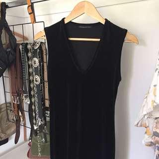 Bracewell vintage style maxi velvet dress with slit