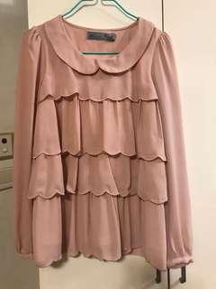 🈹️KATE 粉橙色ruffle 長袖恤衫