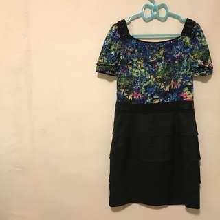 設計師專櫃 MASUCHUDI 曼舒裘迪 炫彩層次拼接洋裝