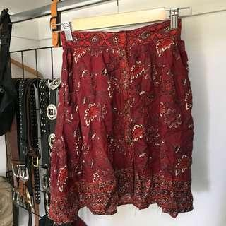 Boho print button skirt