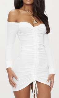 White ribbed long-sleeve dress