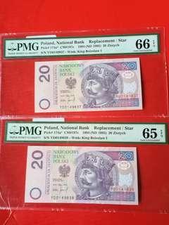Poland 20  zolytch replacement STAR banknotes 2consecutive runs ,both PMG graded 65 EPQ scarce Yolo