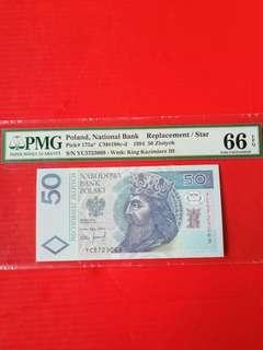 Poland 50 Louth 1994, replacement STAR banknote PMG graded 66 EPQ