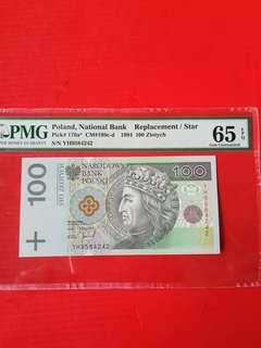 Poland 100 zolytch 1994, replacement STAR banknote PMG graded 65 EPQ scarce