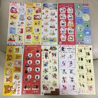 日本 郵票 郵便局 卡通 pooh snoopy 鬆弛熊 kitty moomin mario mickey