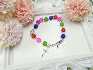 13 Beaded Handcrafted Rosary bracelet  🌼 White Matte Acrylic Beads  🌿  Handcrafted rosary are  perfect for gifts and souvenirs for birthdays,  weddings,  christening,  christmas and anniversaries 🎁🎈🎄.  P50