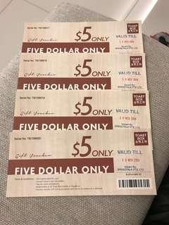 🛍Toast Box Cash Vouchers ($5 X 4 ) 💰