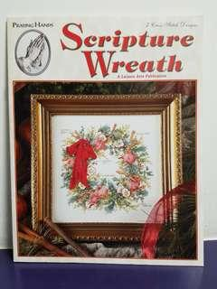 Praying Hands Cross Stitch Chart Book☆Scripture Wreath