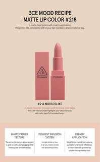 3ce matte lipstick stylenanda 218 mirrorlike new jastip salah beli