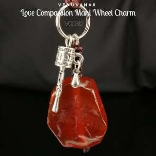Love Compassion Mani Wheel Charm Carnelian Raw Crystal KeyChain - It heals Root Chakra -it's about meeting our basic needs for survival & also our Past life unresolved emotional issues. Cultivate Love & Compassion is the only way to heal past life trauma.