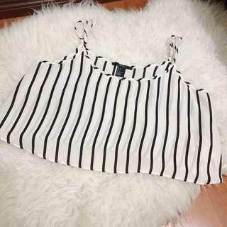 Forever 21 Loose Stripes Cropped Top