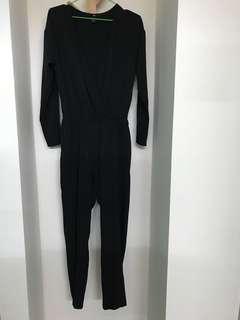 H&M和風雪紡深V開襟連身長褲