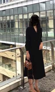 秋冬厚黑色雙排扣長裙/外套風衣  v領長袖 收腰連衣裙 順豐包郵 有size可選