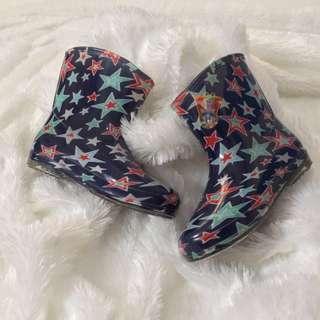 Sepatu Boot Full Karet Motif Bintang - Size 26