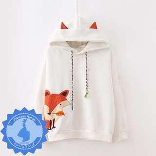 日系原單 學院風狐狸連帽寬鬆長袖衛衣 MA5729 白/深藍 $139 預購