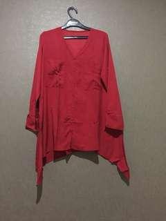 Tunik/kemeja/blouse/atasan merah cabe