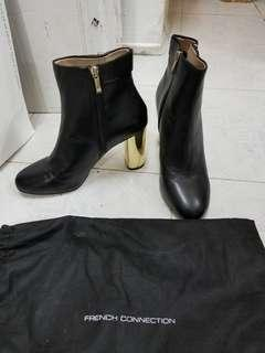 French Connection 真皮金色踭ankle boots size 39