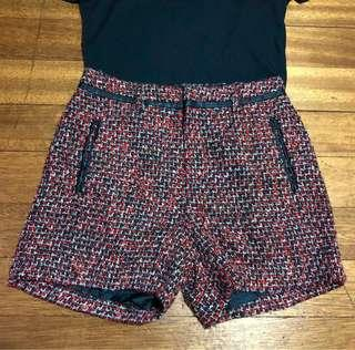 Red and Black Tweed and Leather Shorts
