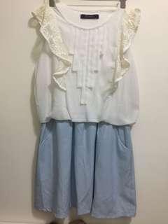 Dress 淺藍 斯文 連身裙