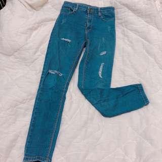 🚚 刷破 牛仔褲 深藍