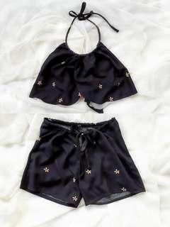 Black Beach Top & Short Set