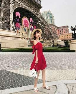连衣裙实拍 甜美蝴蝶结一字领吊带连衣裙