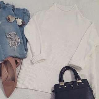 Vince Camuto Mock Neck White Oversized Sweater Tunic