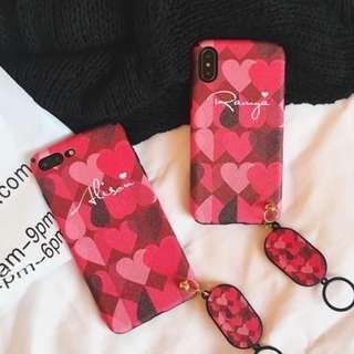 🚚 Customise Name Red Lux Hearts Phone Case
